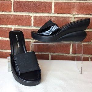 Donald J Pliner Black Patent Leather Wedges